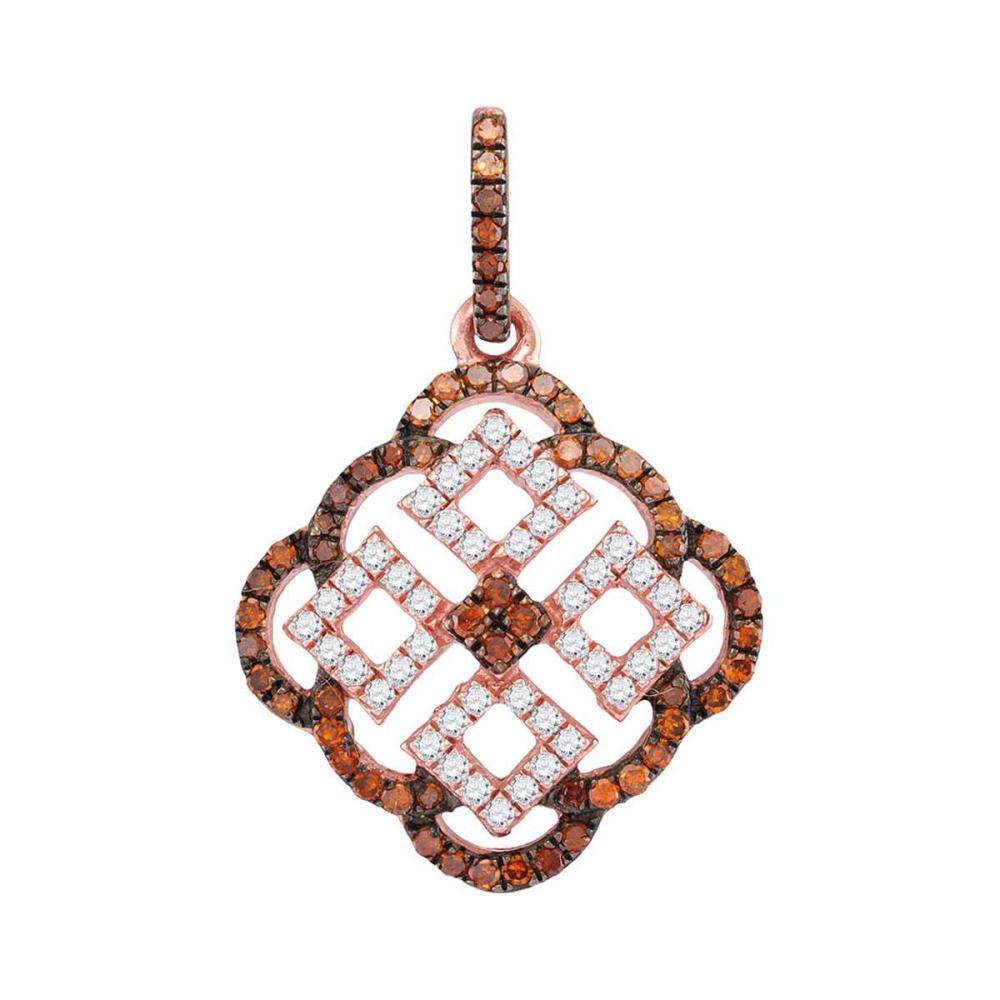 10k Rose Gold Womens Round Red Color Enhanced Diamond Square Cluster Pendant 1/2