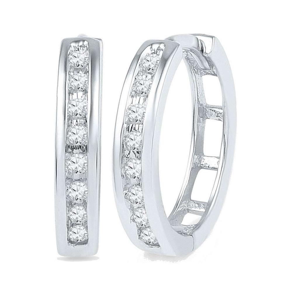 10k White Gold Womens Round Diamond Hoop Fashion Earrings 1/5 Cttw