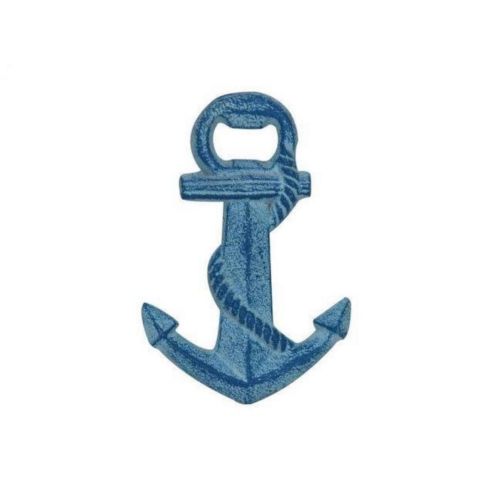 Rustic Light Blue Whitewashed Cast Iron Anchor Bottle Opener 5in.