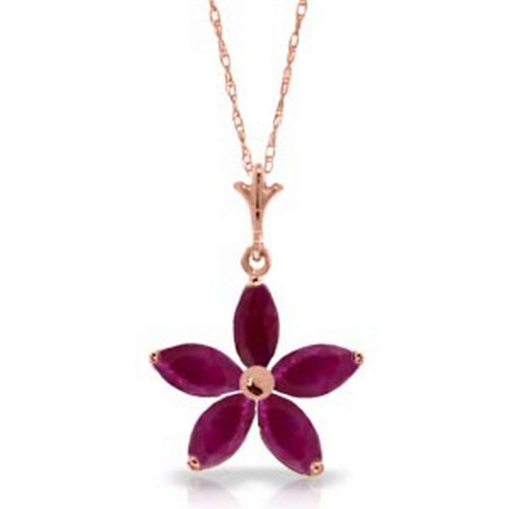 14K Solid Rose Gold Necklace with Natural rubyes
