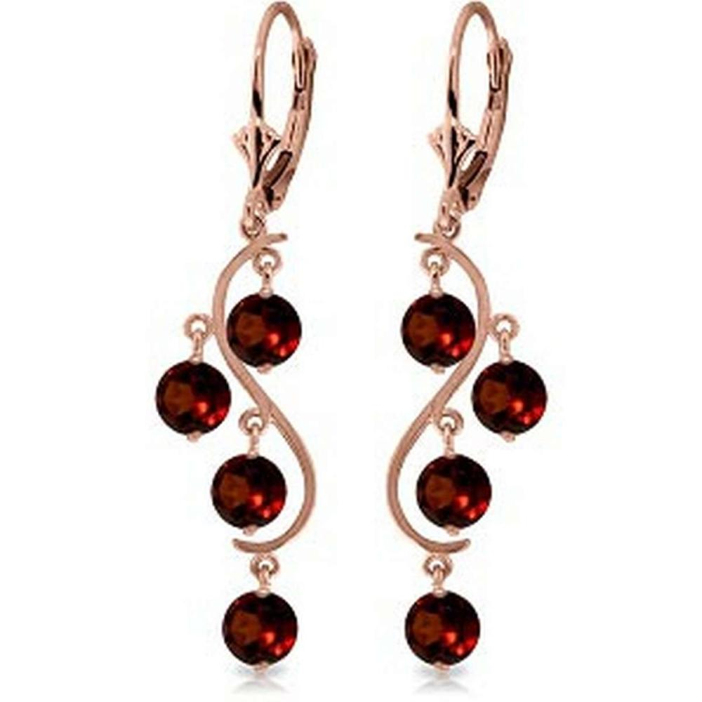 4.95 Carat 14K Solid Rose Gold Garnet Leverback Earrings