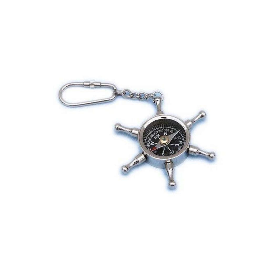 Chrome Ship Wheel Compass Key Chain 5in.