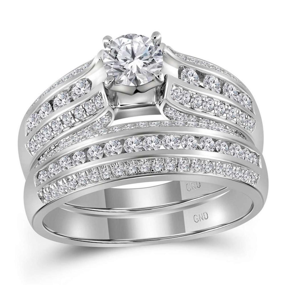14kt White Gold Round Diamond Bridal Wedding Engagement Ring Band Set 1-1/4 Ctw