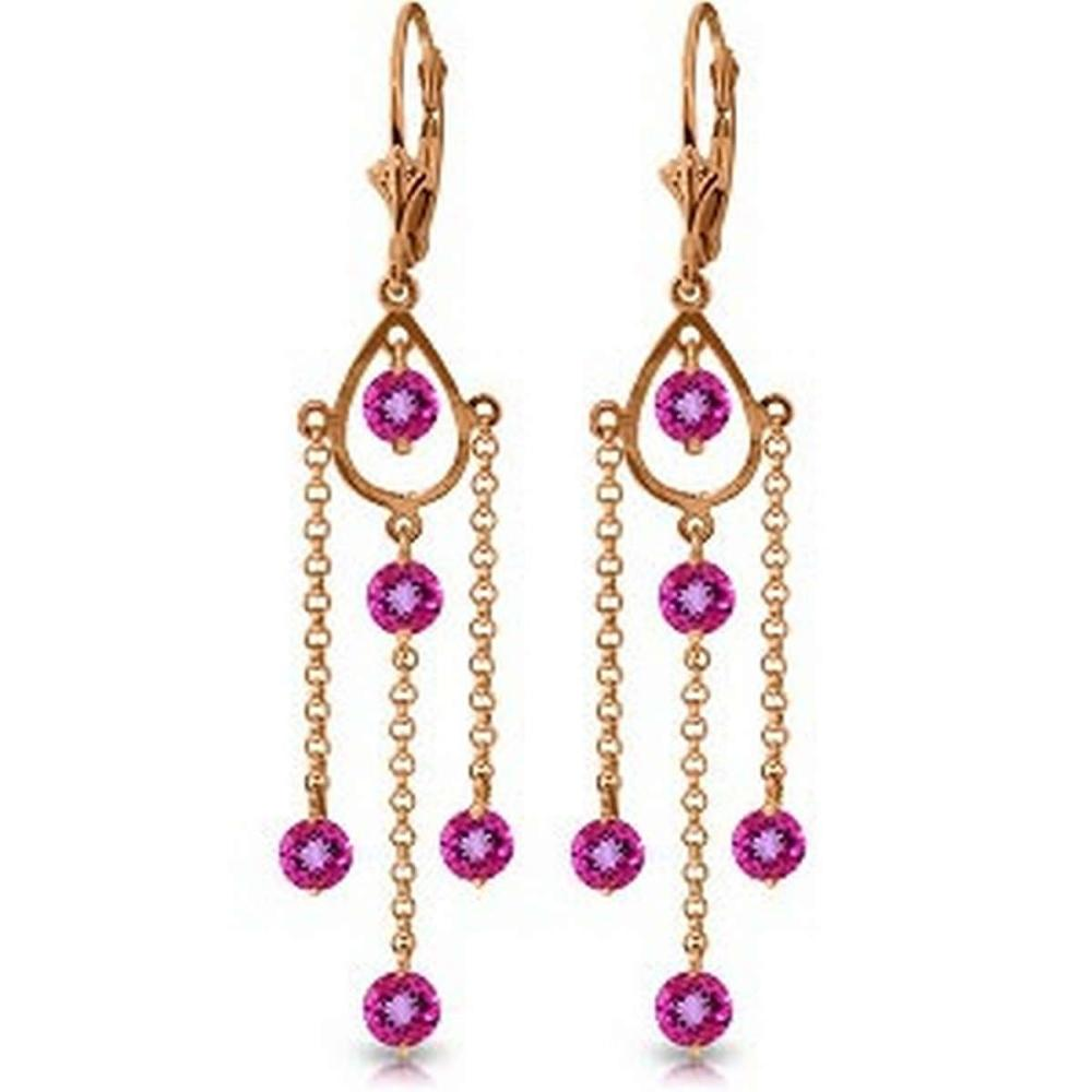 14K Solid Rose Gold Chandelier Earrings with Natural Pink Topaz