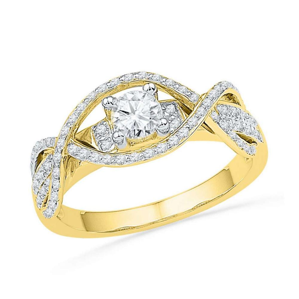 14k Yellow Gold Round Diamond Woven Bridal Wedding Engagment Anniversary Ring