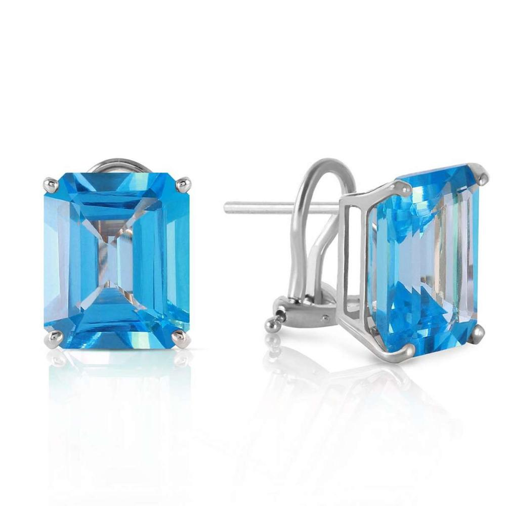 14 CTW 14K Solid White Gold Kubla Khan Blue Topaz Earrings
