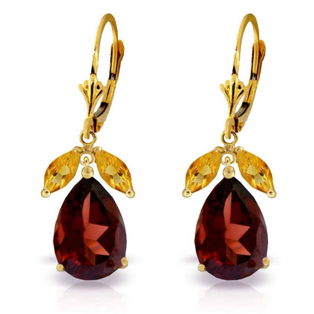 13 Carat 14K Solid Gold Leverback Earrings Citrine Garnet