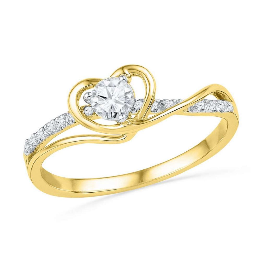 10k Yellow Gold Round Diamond Heart Love Promise Bridal Engagement Ring 1/4 Ctw