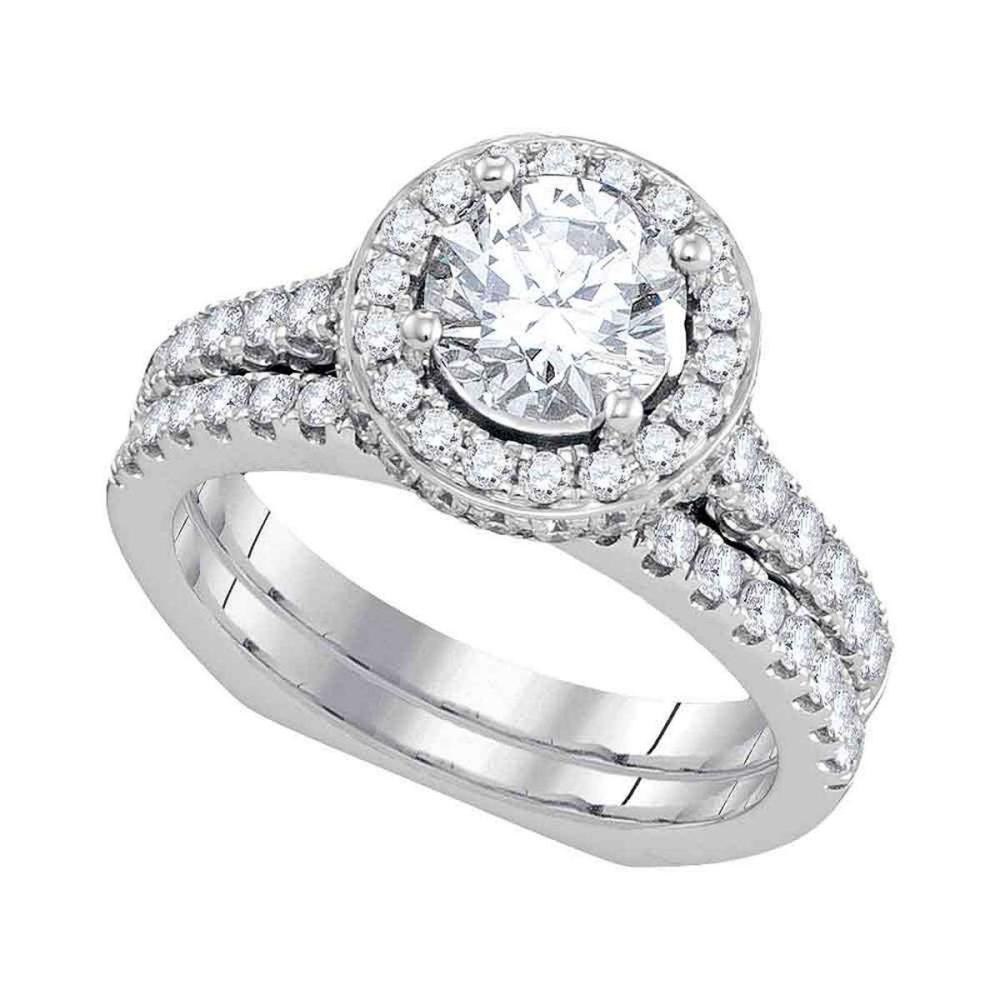 18k White Gold Round Diamond Bridal Wedding Engagement Ring Band Set 2.00 Cttw
