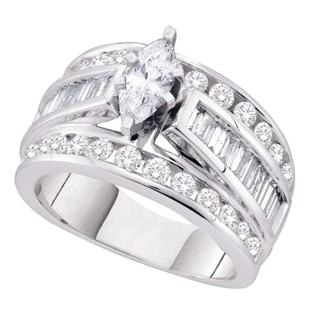 14kt White Gold Marquise Diamond Solitaire Bridal Wedding Engagement Ring 2.00