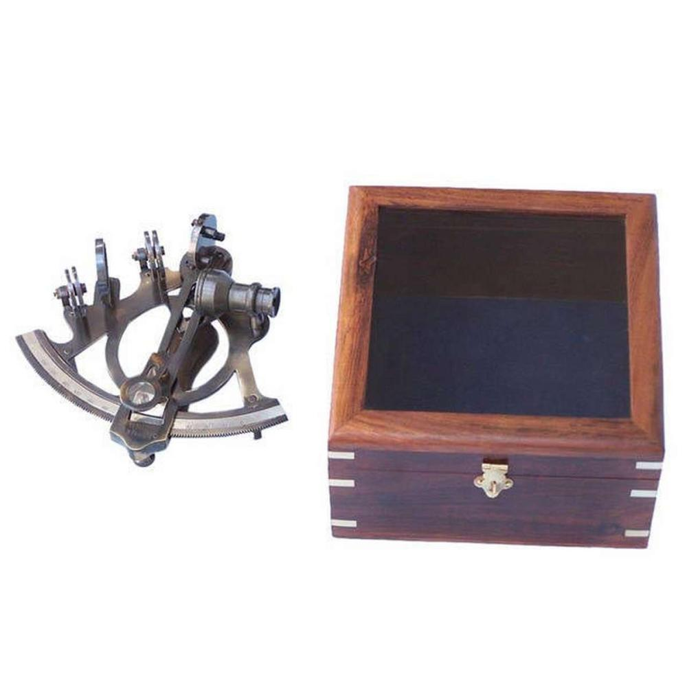 Antique Brass Sextant 7in. with Rosewood Box