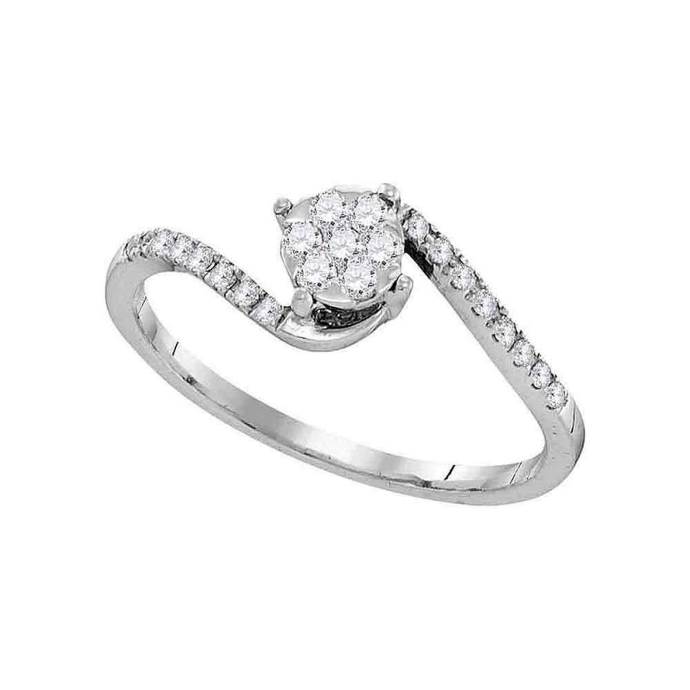 10k White Gold Womens Round Diamond Slender Swirl Cluster Ring 1/4 Cttw