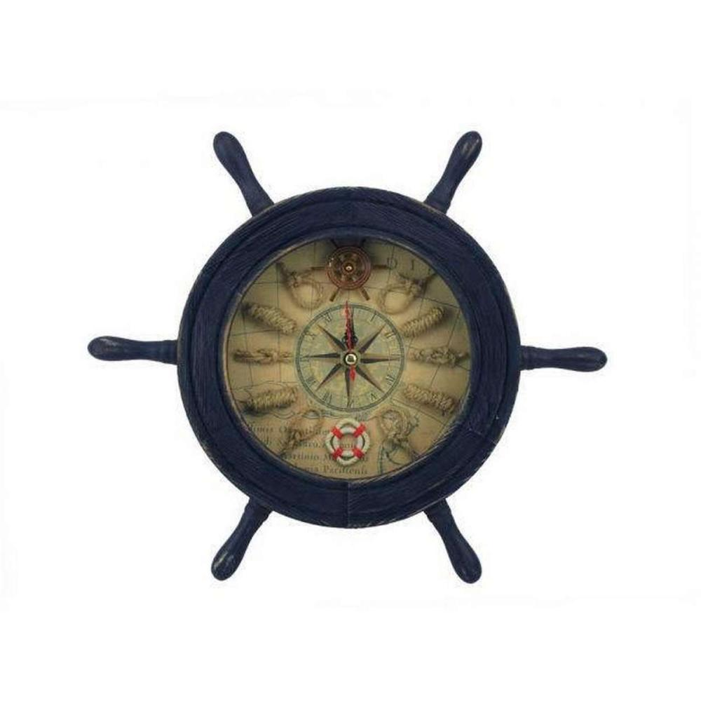 Wooden Rustic Dark Blue Ship Wheel Knot Faced Clock 12in.