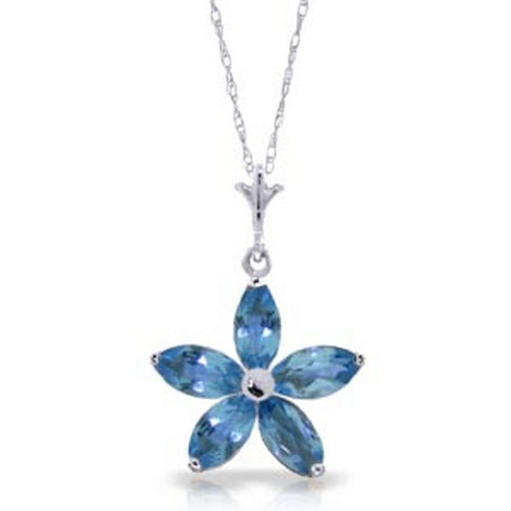 1.4 CTW 14K Solid White Gold Happy Days Blue Topaz Necklace