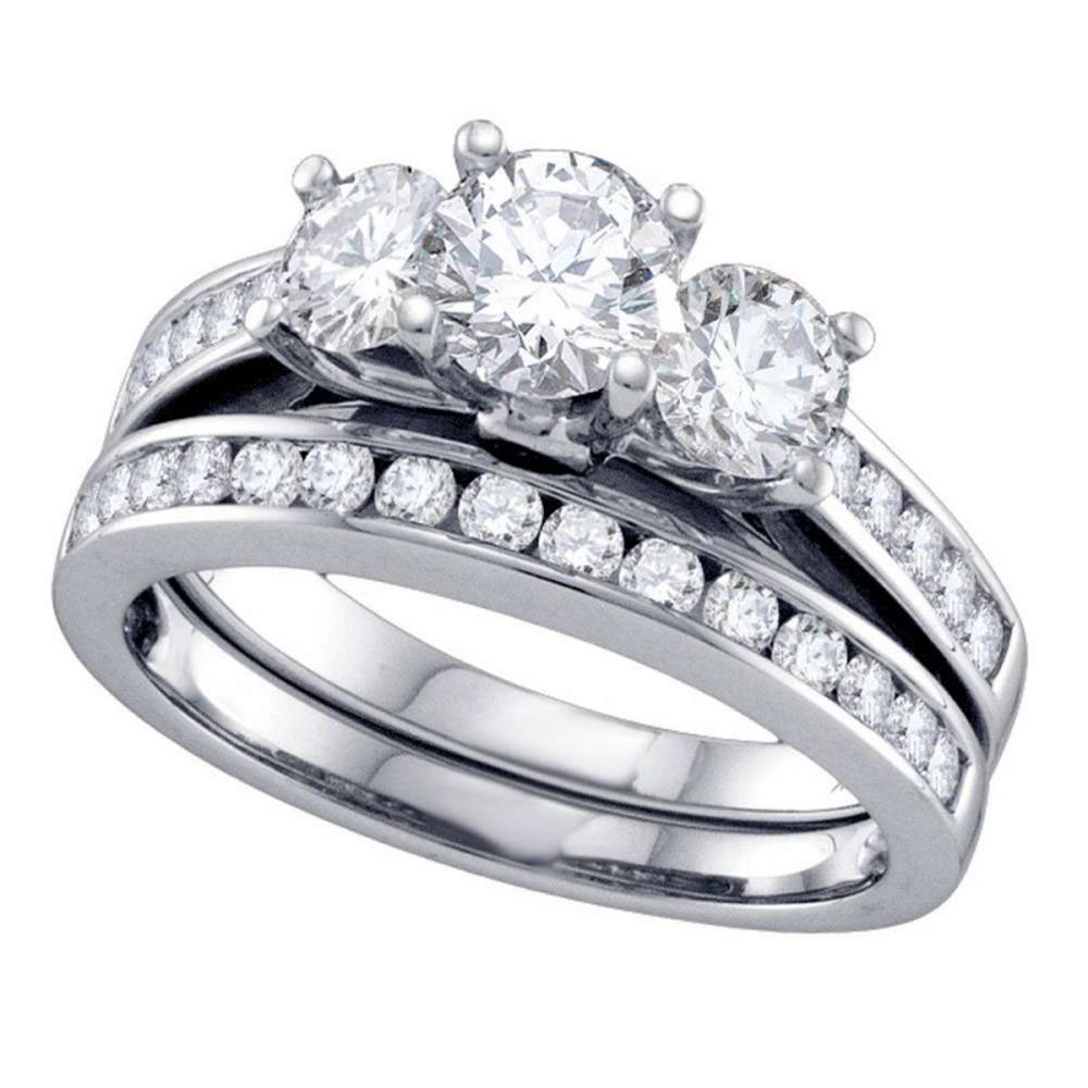 14k White Gold Round 3-Stone Diamond Bridal Wedding Engagement Ring Set 2 Ctw