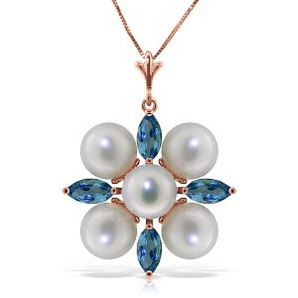 6.3 Carat 14K Solid Rose Gold Snowflake pearl Blue Topaz Necklace