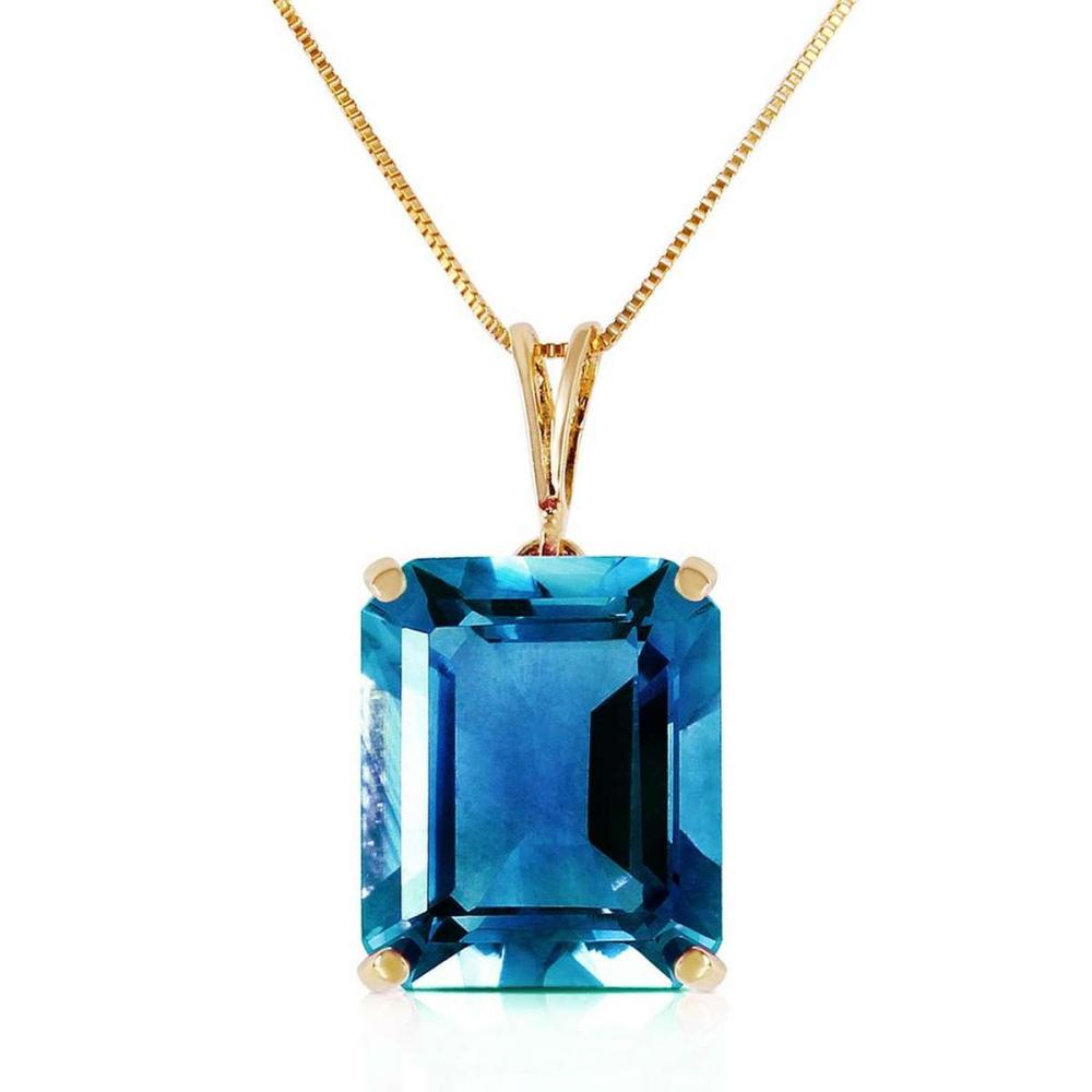 7 Carat 14K Solid Gold Necklace Octagon Blue Topaz