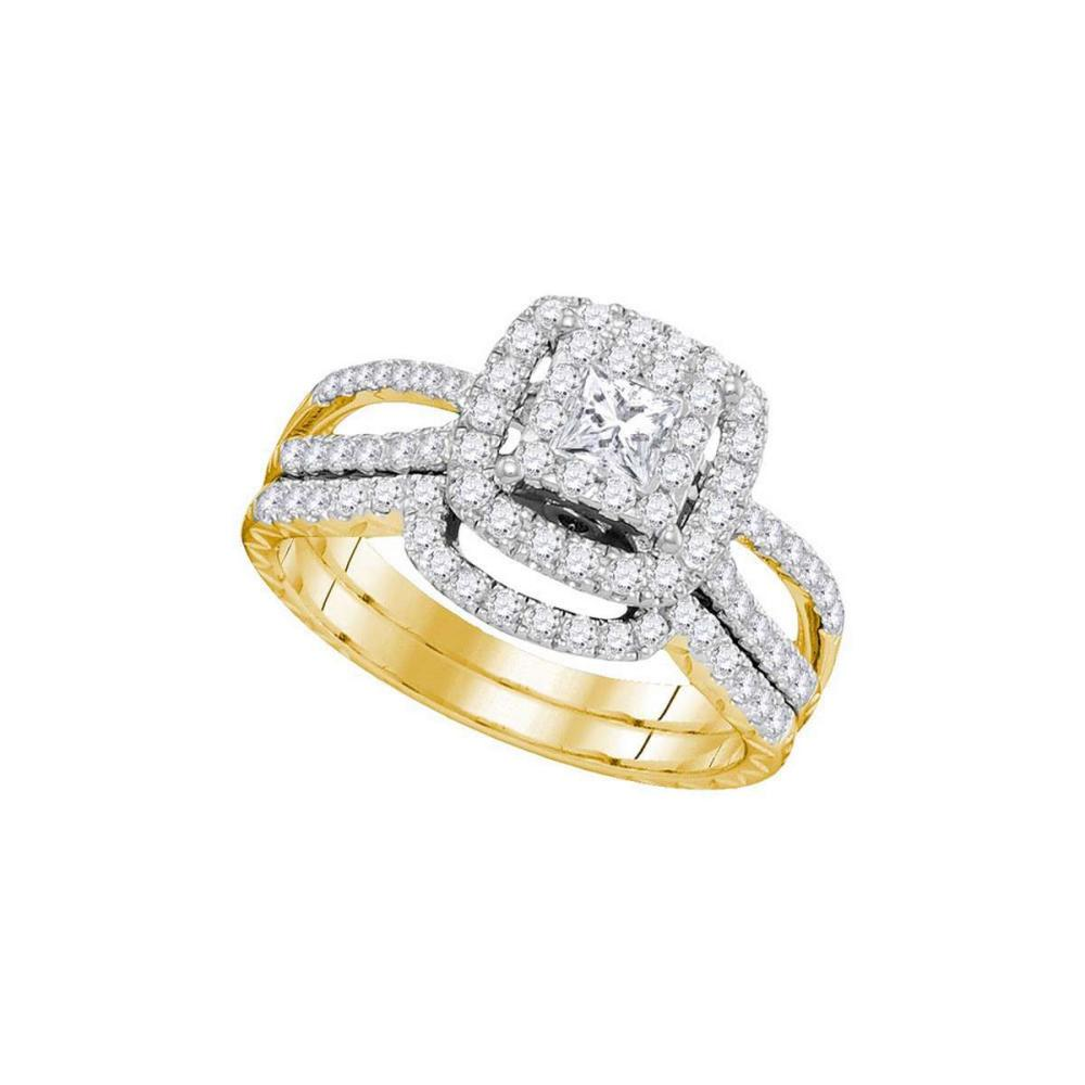 14K Yellow Gold Princess Diamond Bridal Wedding Engagement Ring Band Set 1 Ctw