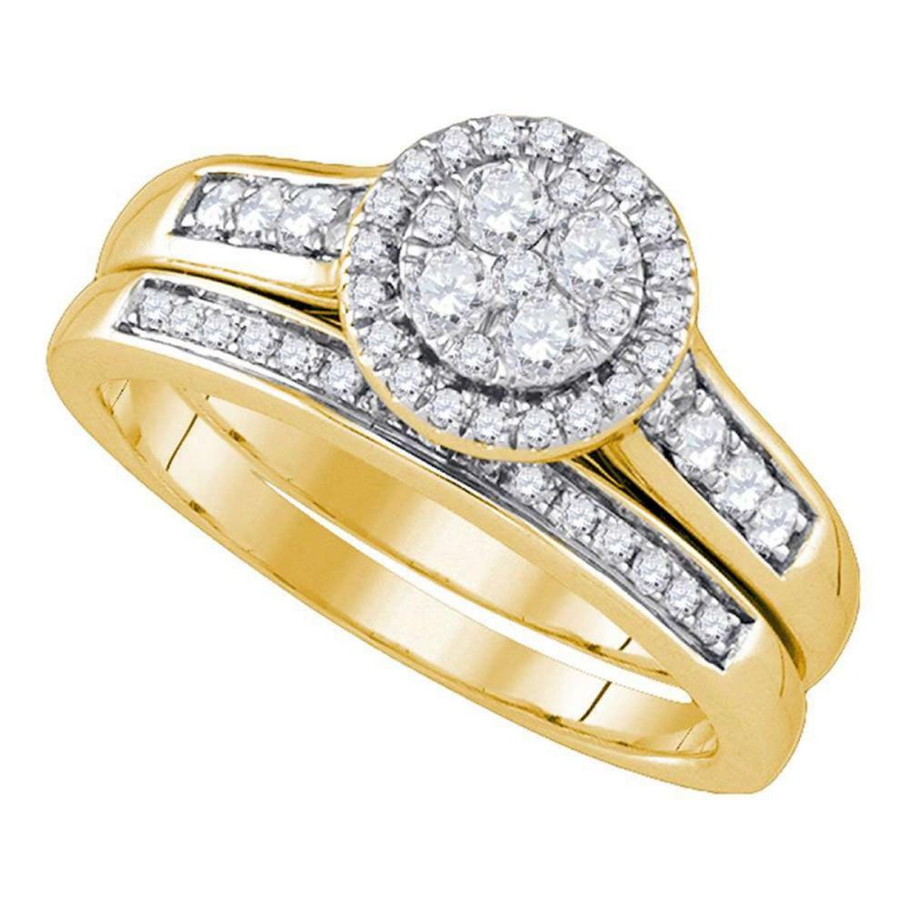 14k Yellow Gold Diamond Cluster Halo Bridal Wedding Engagement Ring Band Set