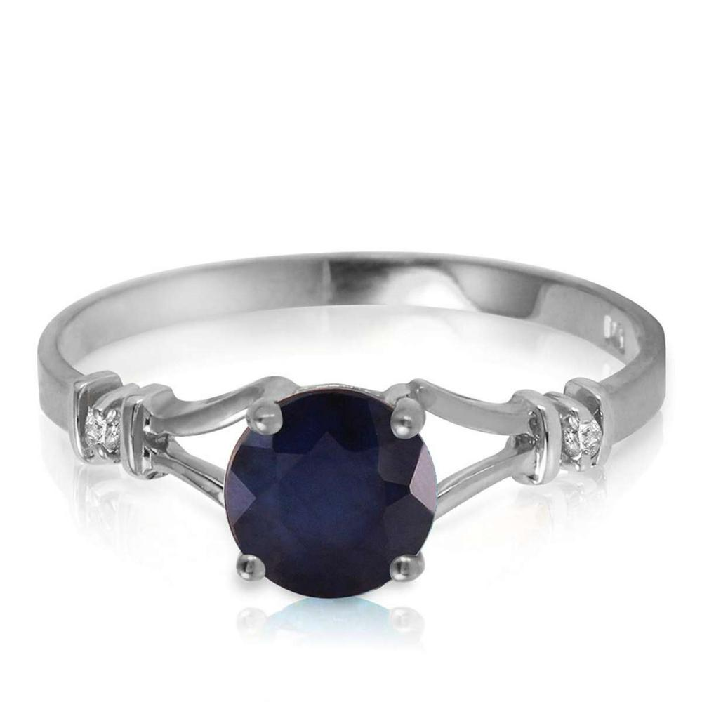 1.02 Carat 14K Solid White Gold Laughter To Express Sapphire Diamond Ring
