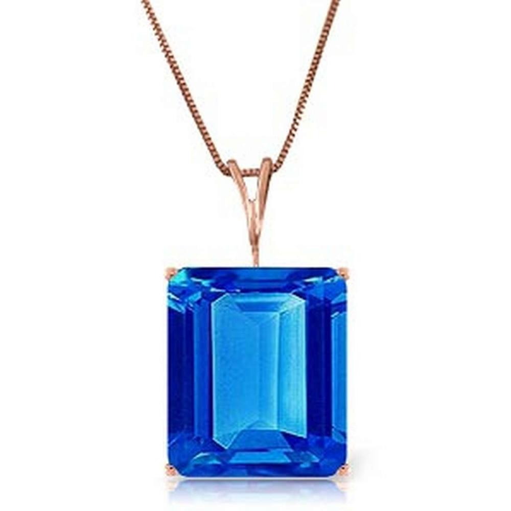 14K Solid Rose Gold Necklace with Octagon Blue Topaz