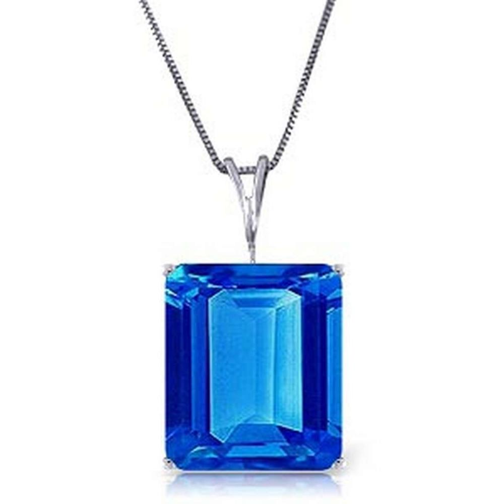 7 Carat 14K Solid White Gold Necklace Octagon Blue Topaz