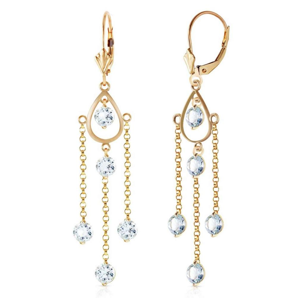 3 Carat 14K Solid Gold Chandelier Earrings Natural Aquamarine