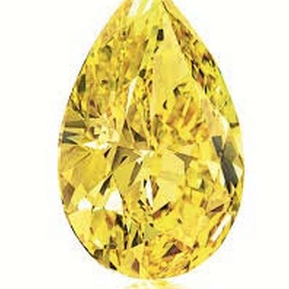 GIA Certified 0.32 CTW Pear Fancy Intense Yellow Diamond SI1