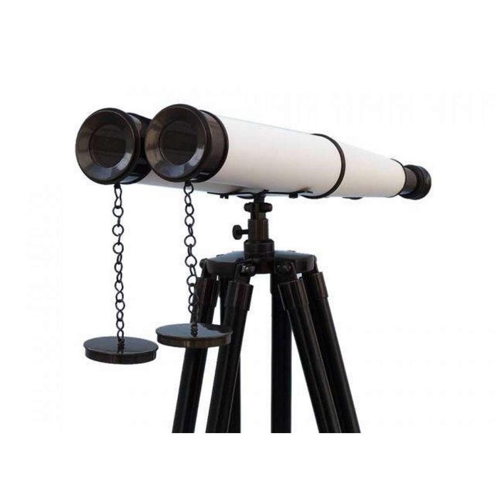 Floor Standing Admirals Oil-Rubbed Bronze-White Leather With Black Stand Binoculars 62in.