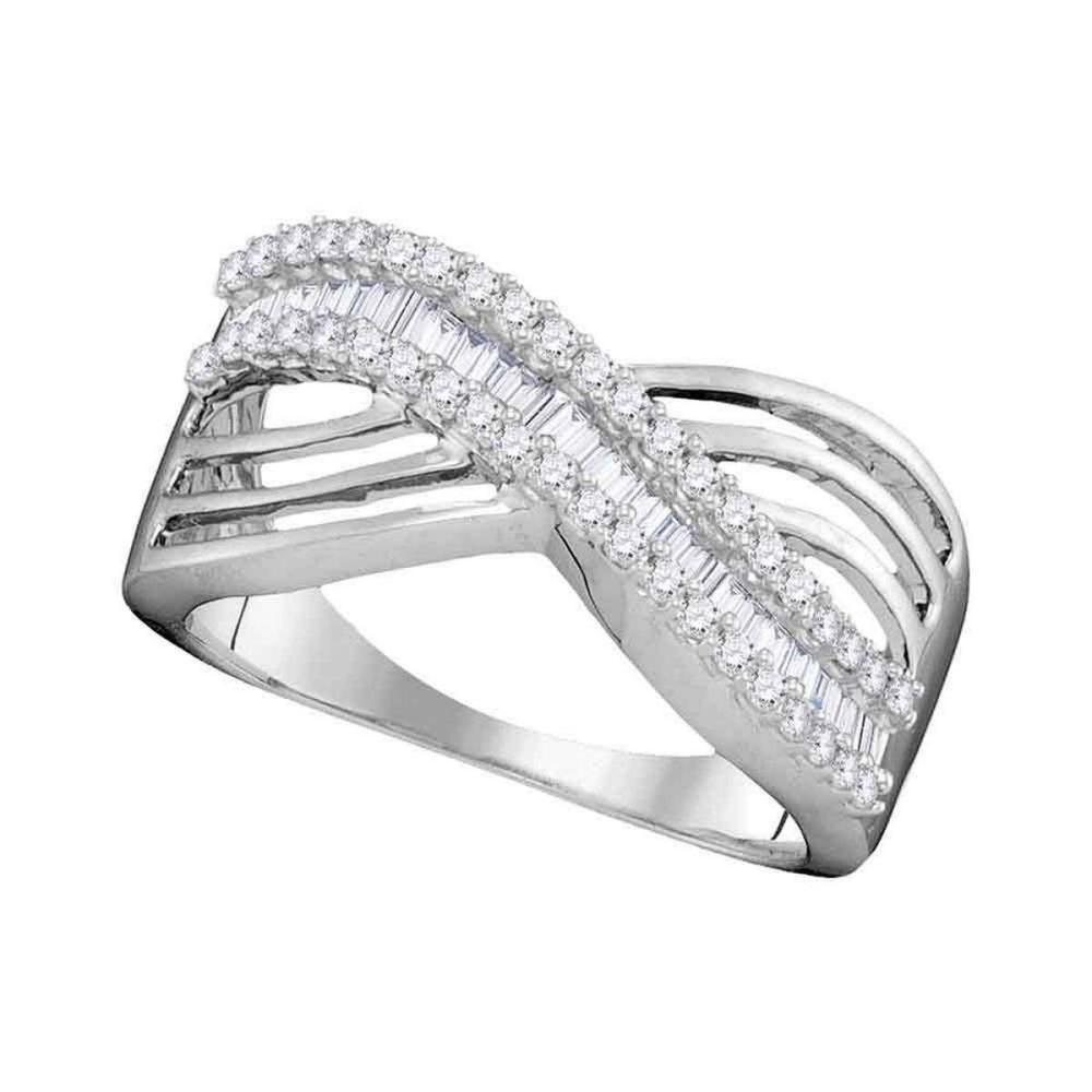 10k White Gold Womens Round Baguette Diamond Strand Crossover Band Ring 1/2