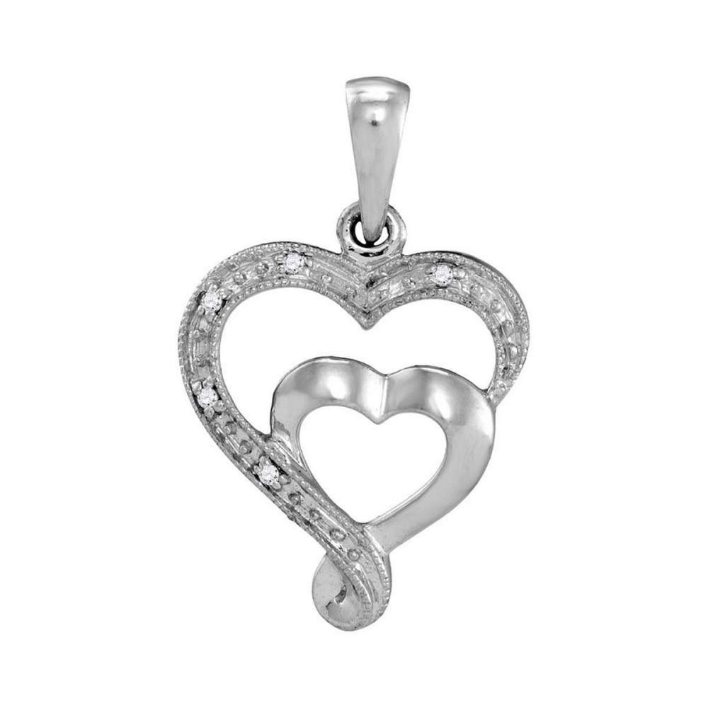 10k White Gold Womens Diamond-accent Double Heart Love Pendant