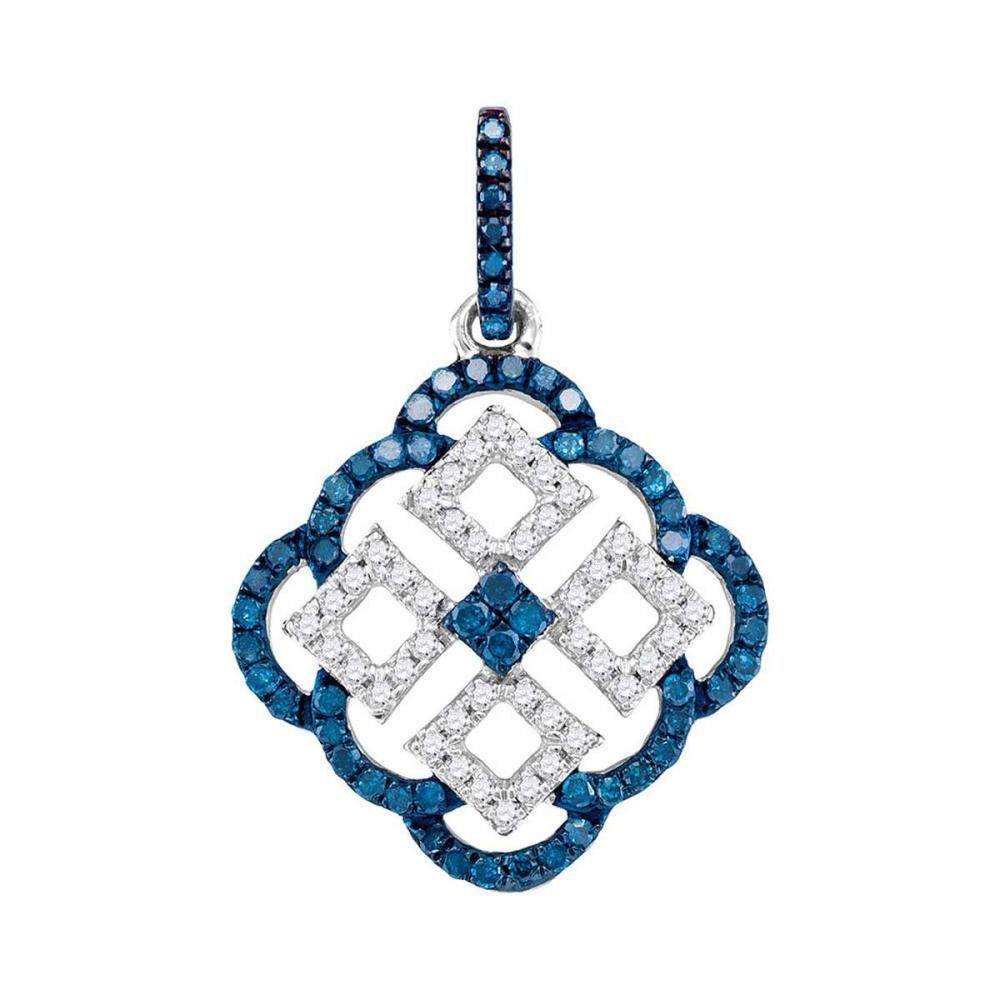 10k White Gold Womens Round Blue Color Enhanced Diamond Square Cluster Pendant