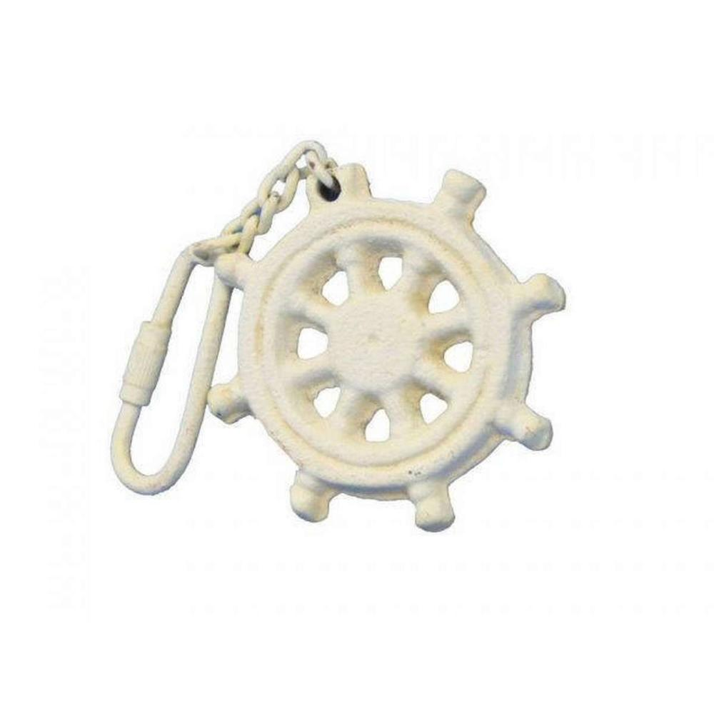 Antique White Cast Iron Ship Wheel Key Chain 5in.