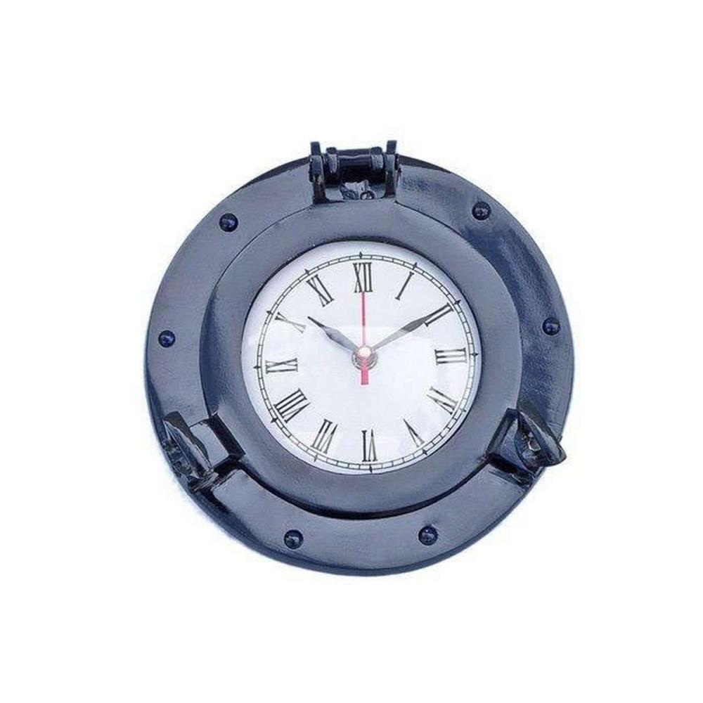 Brass Deluxe Class Porthole Clock 8in. - Dark Blue