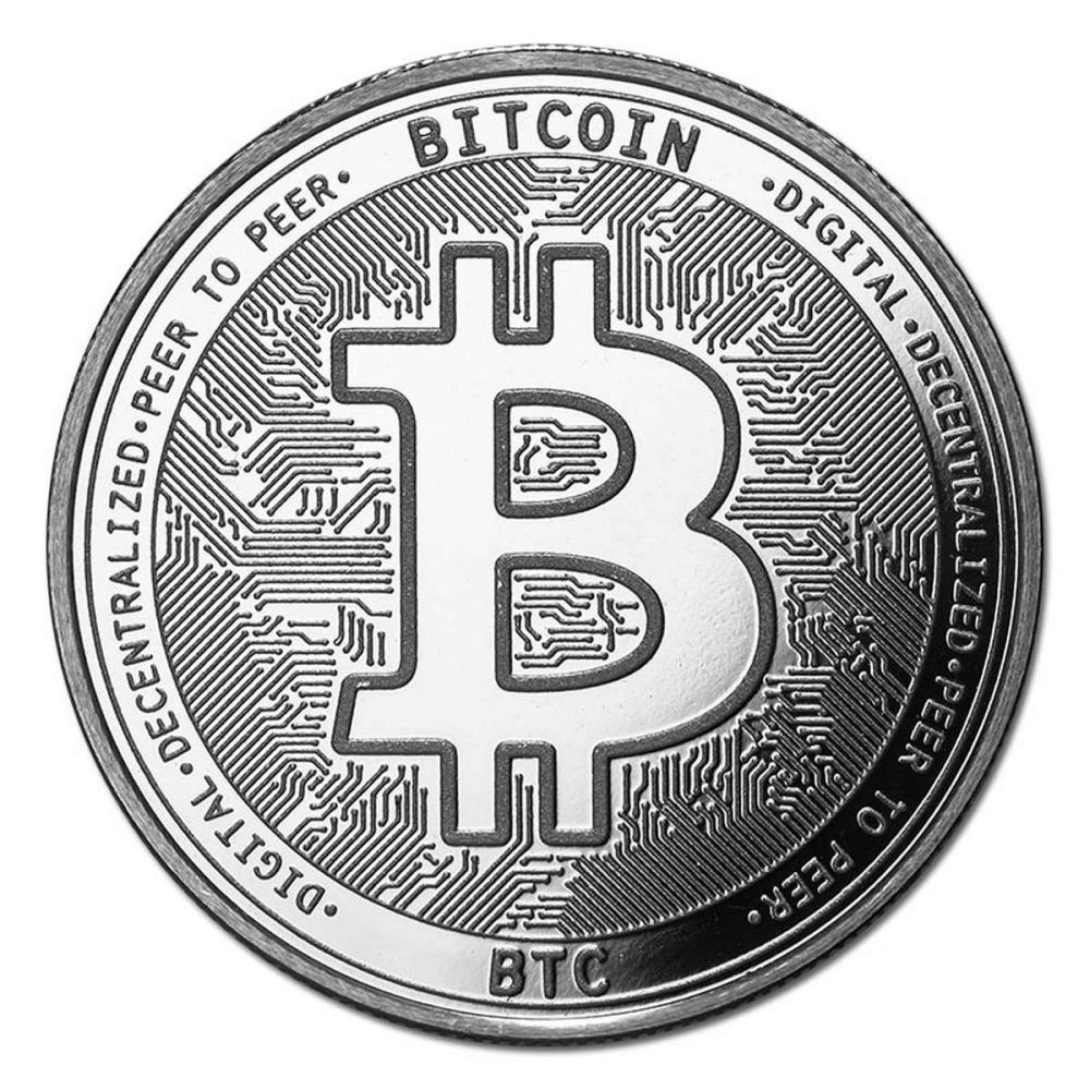 1 oz Silver Bullion Cryptocurrency Bitcoin Round .999 fine