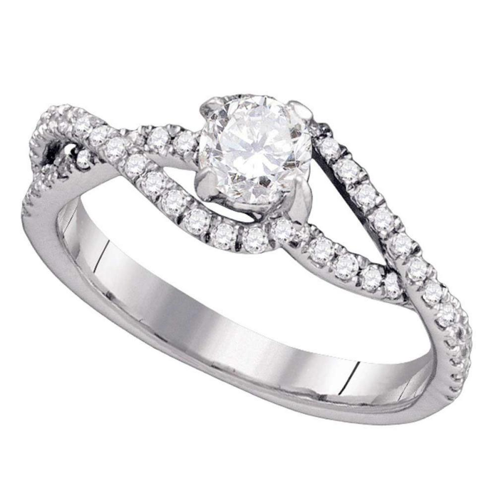 14k White Gold Round Diamond Solitaire Slender Woven Bridal Engagement Ring 3/4