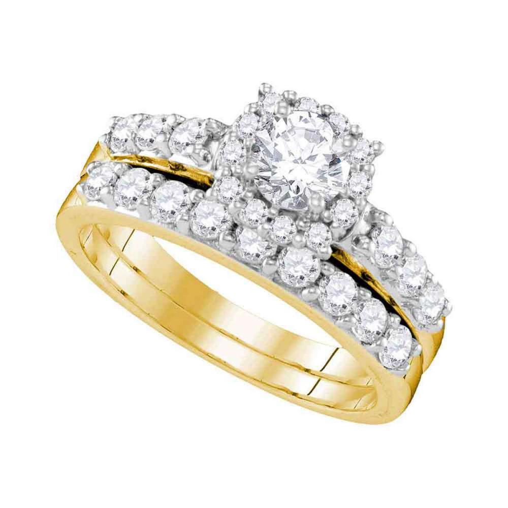 14k Yellow Gold Round Diamond Halo Bridal Wedding Engagement Ring Band Set