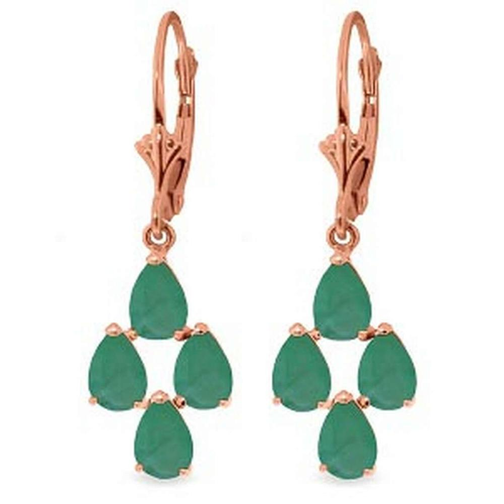 4.5 Carat 14K Solid Rose Gold Emerald Spring Earrings