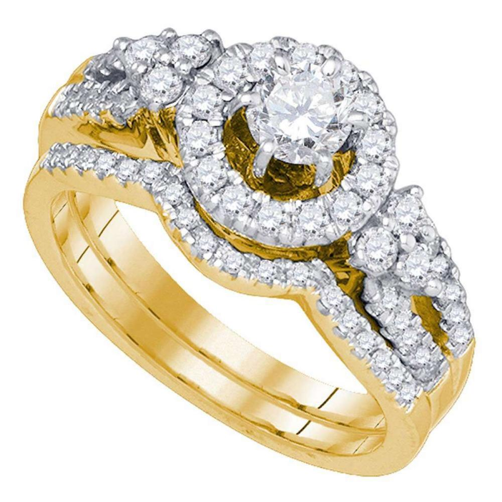 14k Yellow Gold Round Diamond Bridal Wedding Engagement Ring Band Set 1.00 Ctw