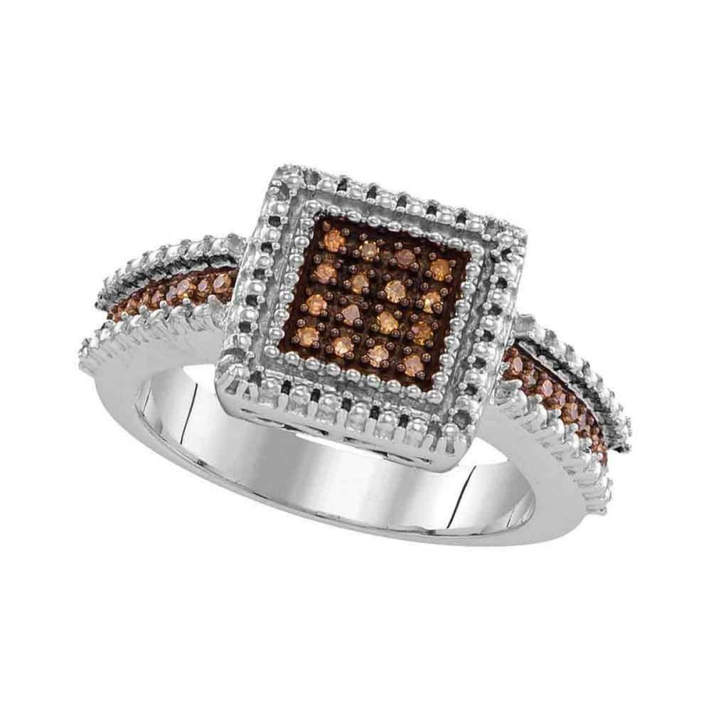 Sterling Silver Womens Round Brown Color Enhanced Diamond Square Cluster Ring