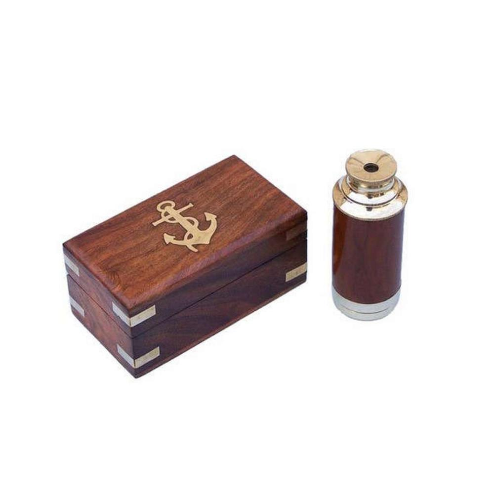 Deluxe Class Solid Brass - Wood Scouts Spyglass Telescope 7in. w/ Rosewood Box