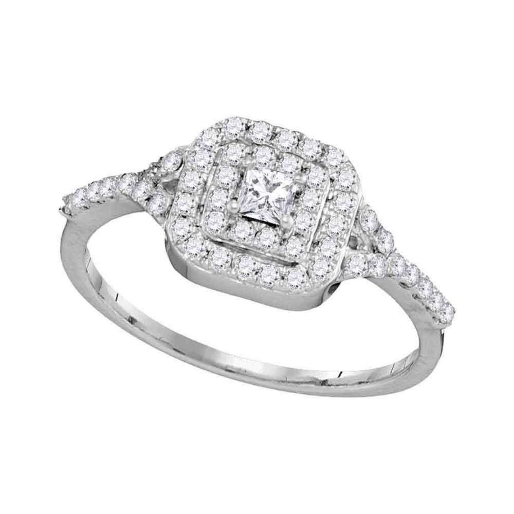 14k White Gold Womens Princess Diamond Bridal Wedding Engagement Ring 1/2 Cttw