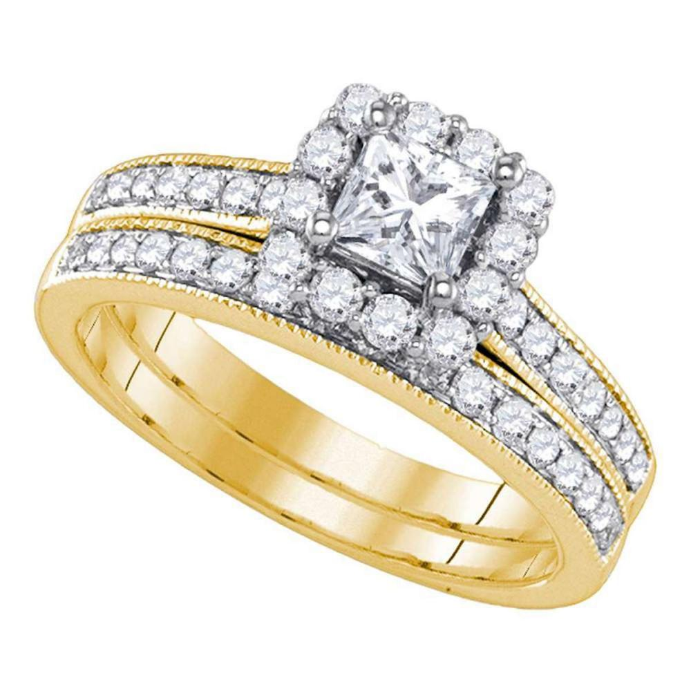 14k Yellow Gold Princess Diamond Bridal Wedding Engagement Ring Set 1-1/4 Ctw