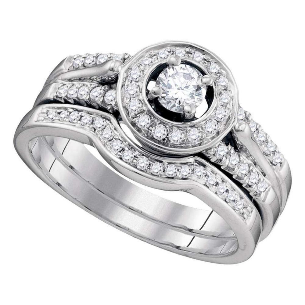14k White Gold Diamond Round Bridal Wedding Engagement Ring Band Set 1/2 Ctw