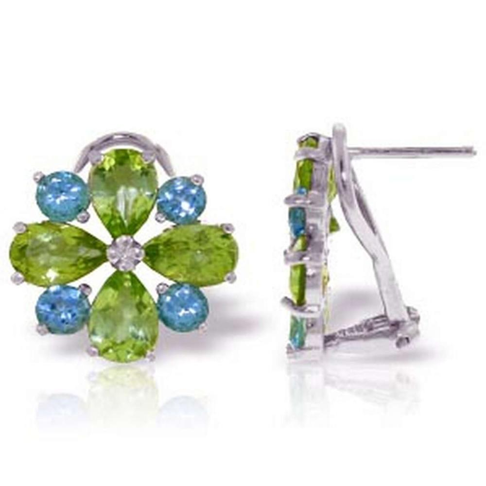 4.85 CTW 14K Solid White Gold French Clips Earrings Peridot Blue Topaz