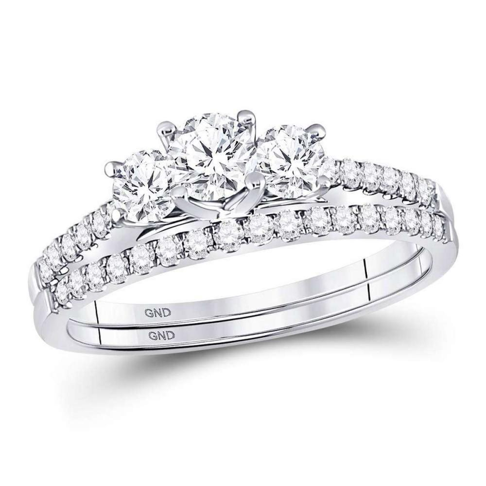14kt White Gold Round Diamond Bridal Wedding Engagement Ring Band Set 1.00 Ctw