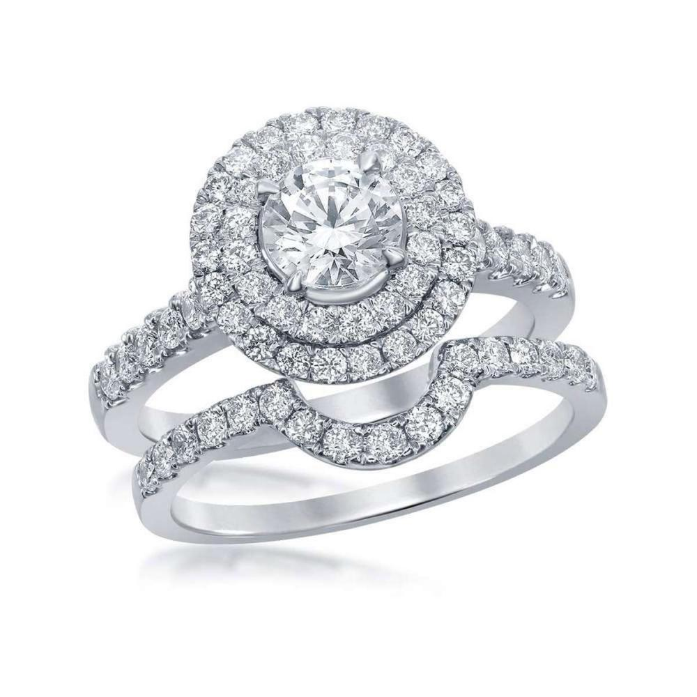 14k White Gold Certified Round Diamond Bridal Wedding Engagement Ring Set 1.75