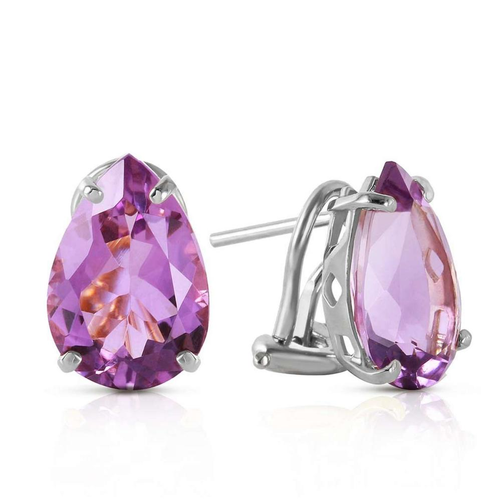10 CTW 14K Solid White Gold Respect Amethyst Earrings