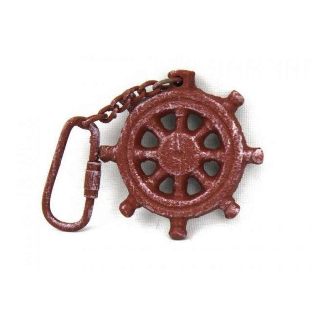 Red Whitewashed Cast Iron Ship Wheel Key Chain 5in.