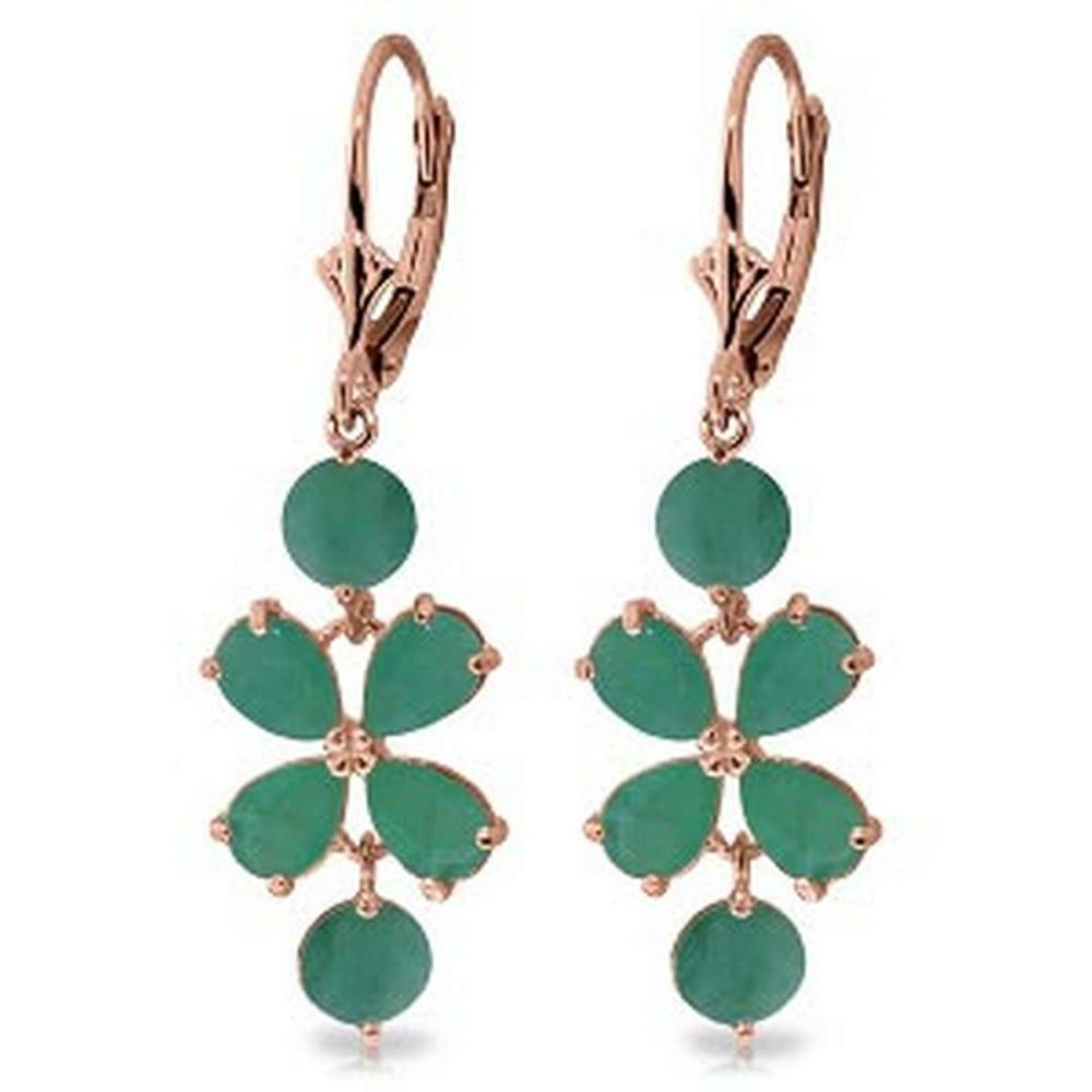 5.32 CTW 14K Solid Rose Gold Chandelier Earrings Natural Emerald